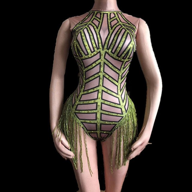 Women's Nude Nightclub Outfit Party Wear 4 colors big Stretch Tassel Leotard Female Singer Dancer Sexy Fringes Bodysuit Costume