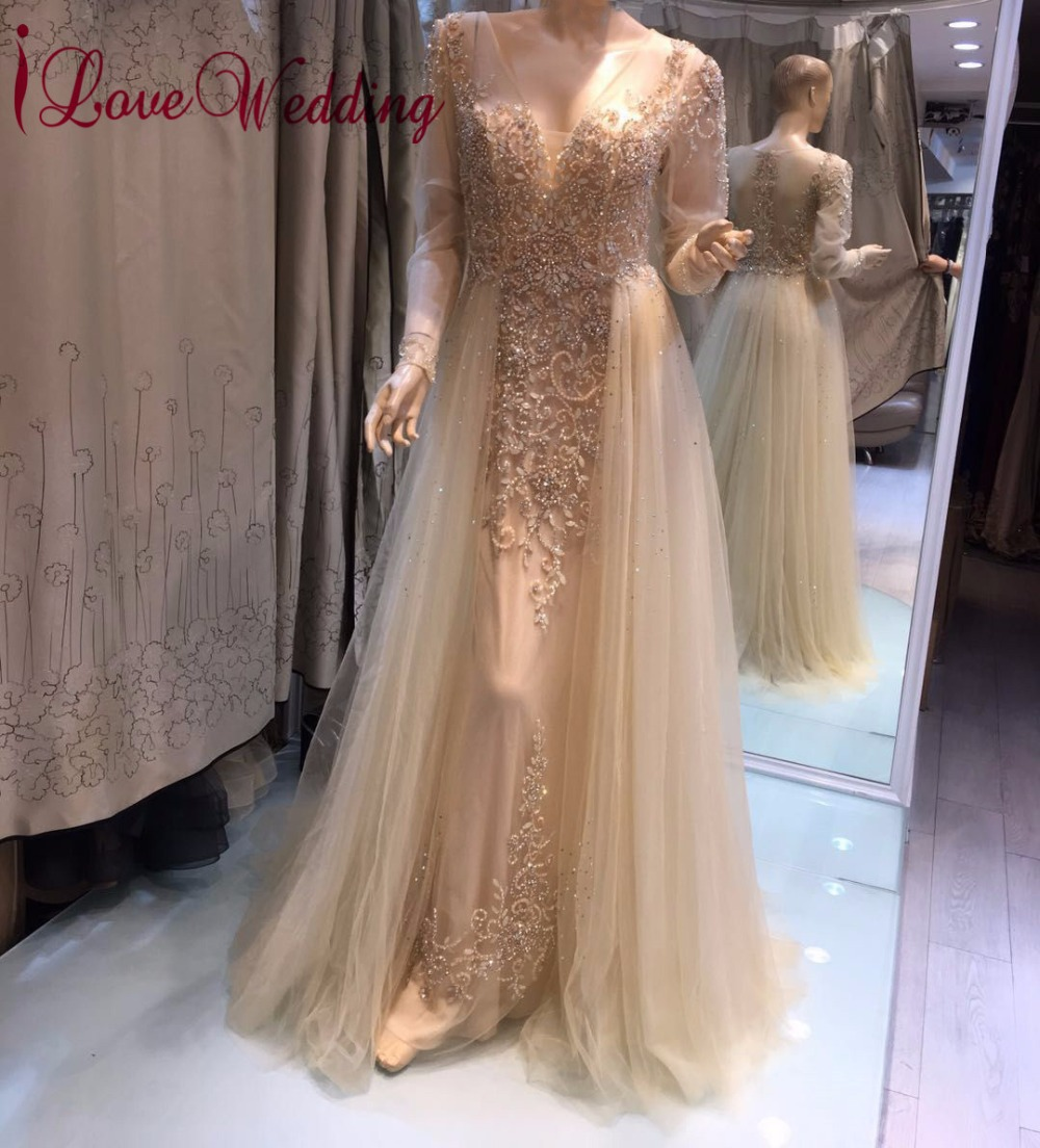 2271e6502013b New Arrival 2019 Sexy V Neck Heavy Beaded Evening Gown Long Sleeves Arabic  Style Formal Long Evening ...