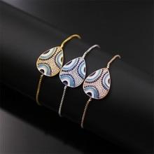 Big Sale!!! NJ Turkish Style Water Drop Blue-White Glaze Natural stone White Zirconium Mixed Women's Bracelet expandable chain