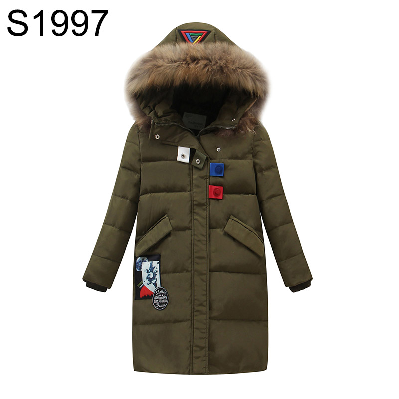 Big Boy's Long Down Warm Coat For Youth Children Fur Collar Hooded Duck Down Jacket Boy Winter Warm Parkas Clothes High Quality russia winter boys girls down jacket boy girl warm thick duck down