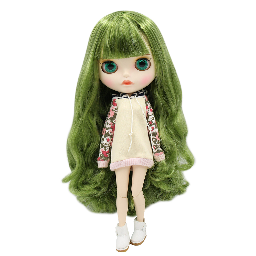ICY factory blyth doll BL4299 42038 green mix hair new matte face with eyebrow carven lips