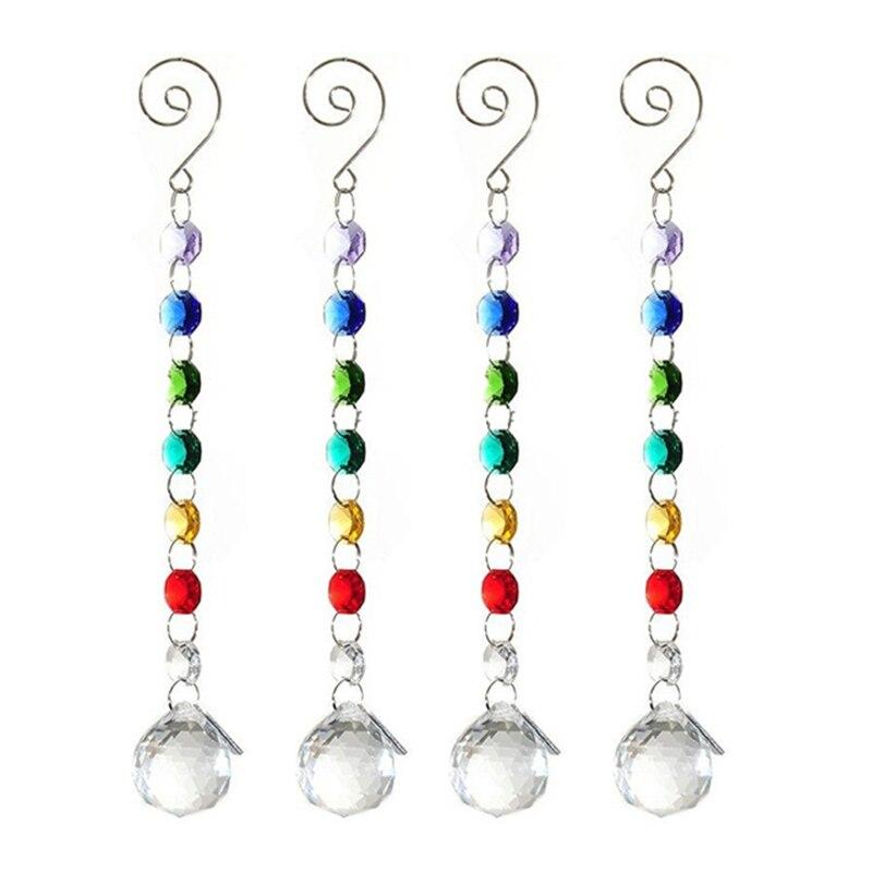 4PCS Rainbow Suncatcher Crystal Ball Prisms Pendant Glass Art Chandelier Part Mixed Color Bead Chain DIY Wedding Decor