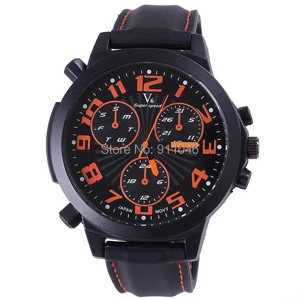 e938c8a4e Frete Grátis Luxo Marca V6 Relógios Casual Homens de Quartzo de Japão  Homens Relógio de Silicone Resistente À Água relógios de Pulso de Couro
