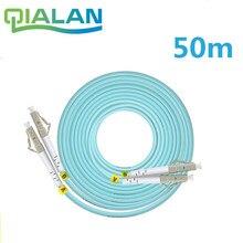 Cabo de remendo multimodo da fibra ótica de 50m lc sc fc st upc om3 cabo de remendo duplex de 2 núcleos cabo de remendo da fibra ótica de 2.0mm
