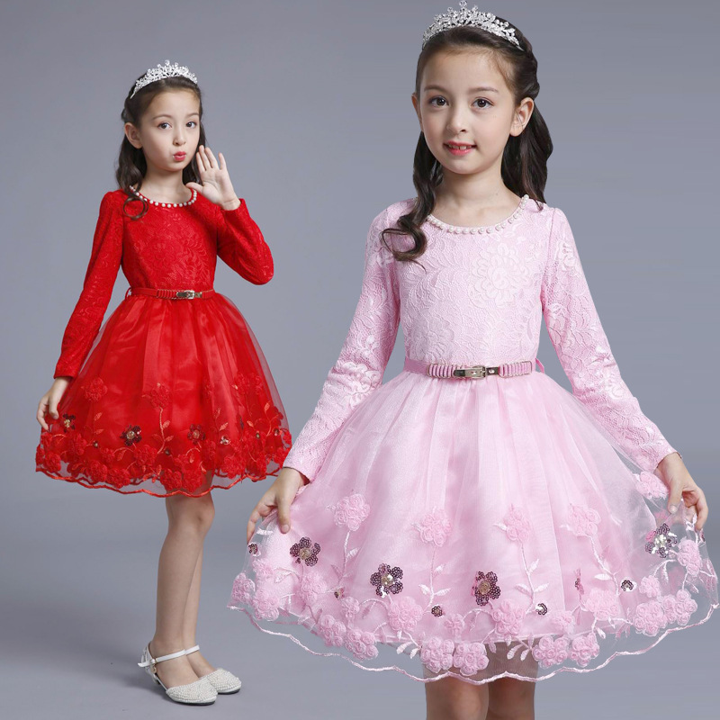 3-9 yrs Autumn Lace Girls Dress Long Sleeve Girls Clothing Princess Party Birthday Evening Dresses Girl Costume Kids Red Clothes fashion jacquard spring and autumn long sleeved lace print dress princess party baby girl dresses girl clothes 3 7 yrs