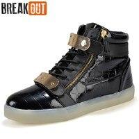 Breken Nieuwe Mannen Laarzen voor Mannen Lederen LED Laarzen hoge Top Lace Up Kwaliteit Ademend USB Oplaadbare Verlichte Mannen schoenen