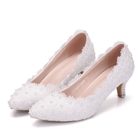 Spring New Crystal Pearl Lady White Lace Wedding Shoes 6CM Heels Sexy Sweet Princess Party Single Shoes