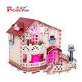 É rosa! Holiday Bungalow Dollhouse com luz, Casa de boneca DIY 3D kit, Cenas em miniatura, Eps de