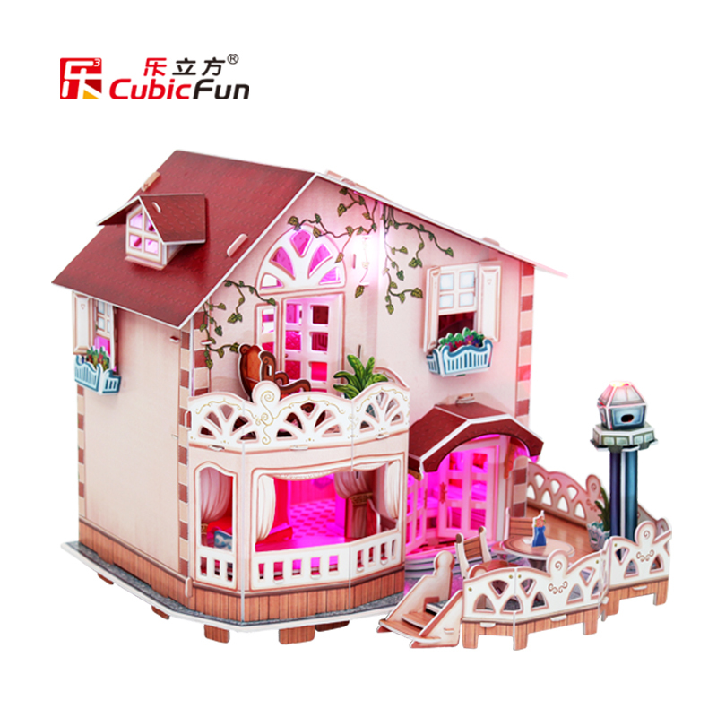 Holiday Bungalow Dollhouse Model With Light Diy 3d Doll House Kit