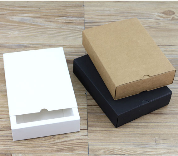 celebration : Kraft Paper Drawer Type Craft Gift Box White Black Jewelry Handmade Soap Packaging Boxes For Wedding Party Candy