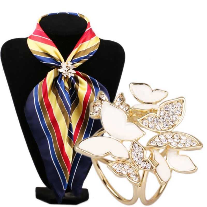 Korean Fashion Wild Butterfly Tricyclic Scarf Buckle Brooch 2016 Women's Stewardess Rhinestone Scarf Buckle Jewelry