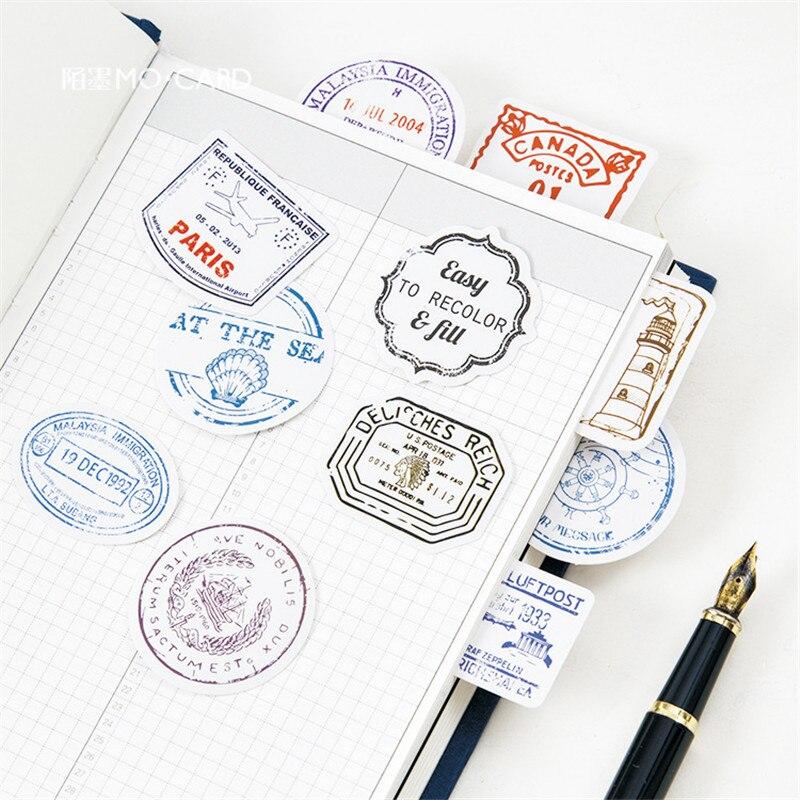 45pcs/box Travel Stamp Stationery Stickers Vintage Decor Adhesive Sealing Stickers Label Diary Scrapbooking Diy Decor Pegatinas45pcs/box Travel Stamp Stationery Stickers Vintage Decor Adhesive Sealing Stickers Label Diary Scrapbooking Diy Decor Pegatinas