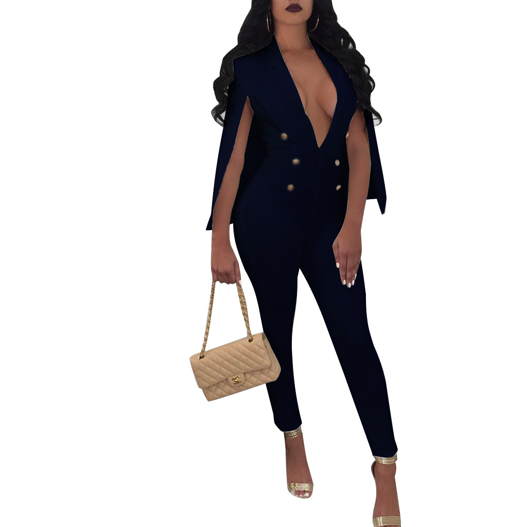 New Cloak Sleeve Cape Playsuit Sexy Jumpsuits Overalls Women Full Length Rompers Bodysuit Casual Plus Size Jumpsuits Long Pants