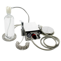 Portable Dental Turbine Unit Work Kit Steel Shell with Air Compressor 4 Holes Triplex Syringe