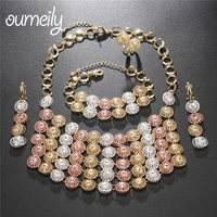 OUMEILY African Beads Jewelry Set Dubai Rose Gold Silver Color Nigerian Wedding Jewelry Sets for Brides Women Jewelry Luxury