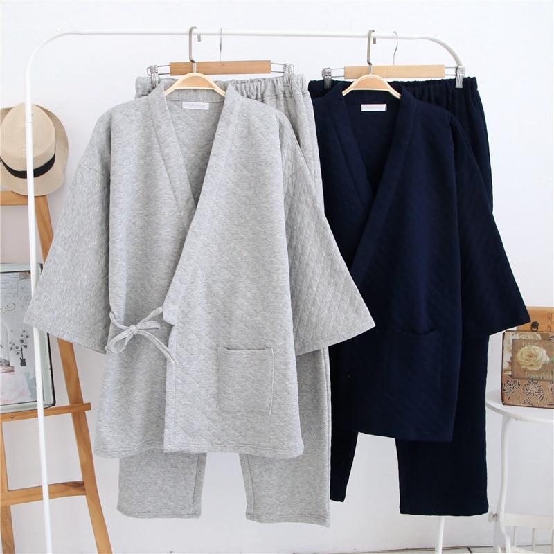 Autumn Traditional Japanese Cotton Kimono Suit Winter Mens Warm Thick Sleepwear Pajama Sets Plaid V-Neck Yukata 110806