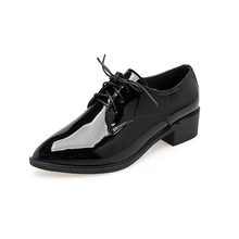 British Style Patent Leather Oxford Shoes For Women Spring Low Heel Work Pointed Toe Oxfords Casual Lace-up Flats Zapatos Mujer