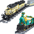 Battery Powered Electric Steam Container Train Track Building Block Toy Kids Bricks Toys Children Gift Compatible with Legoe