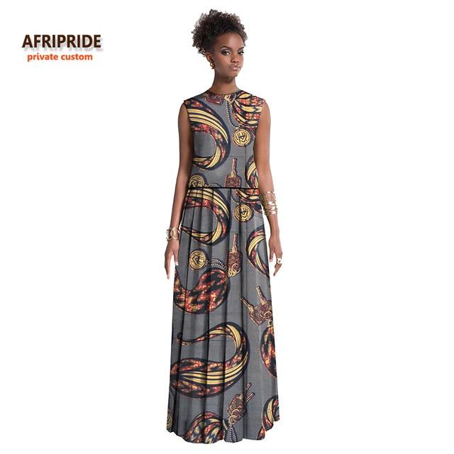 buy popular baffe ba777 US $55.51 |2018 NUOVO AFRIPRIDE Privato vestiti africani per le donne senza  maniche top + pavimento lunghezza del pannello esterno puro cotone ...