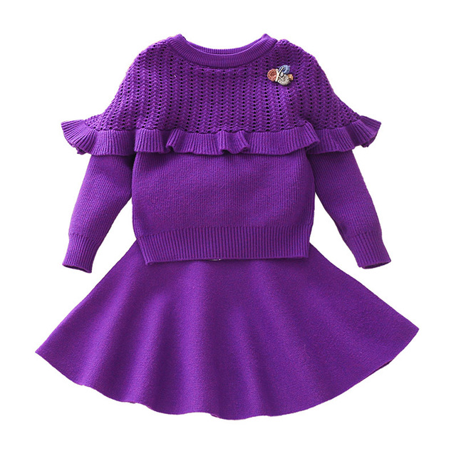 84388bc74868 Baby Girls Sweater Clothing Set Knitted Clothes Suit Shirt + Skirt 2 ...