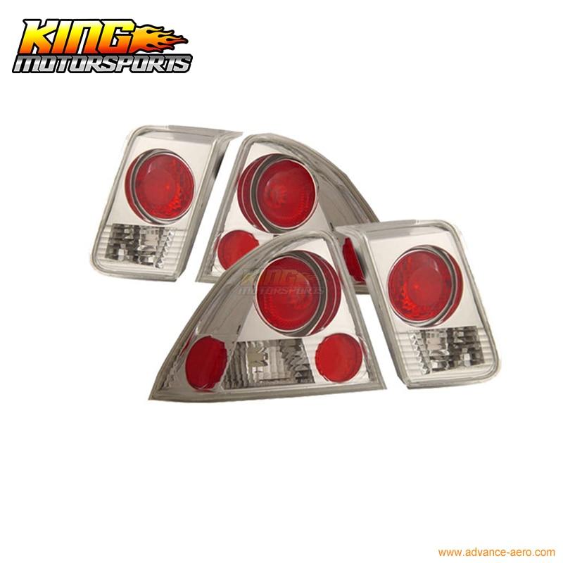 For 01-04 Honda Civic 4Dr Sedan Tail Lights Chrome 2002 03 USA Domestic Free Shipping