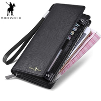 WilliamPOLO 2019 New Mens Wallet Zipper Hasp Long Genuine Leather Business Phone For Credit Cards Clutch Wallet Men PL128A