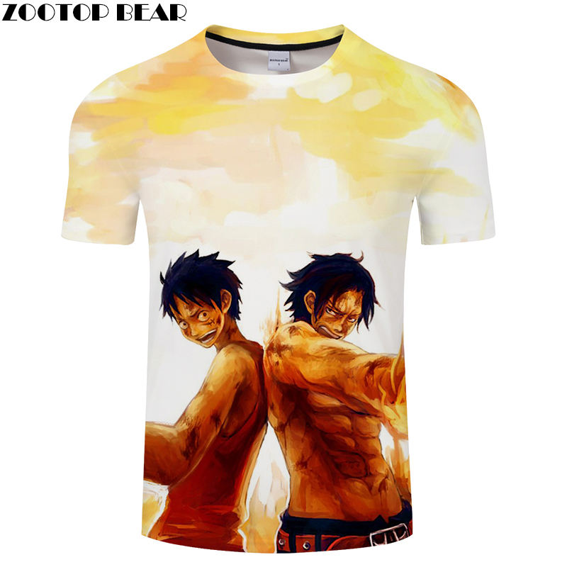 New Men's Shirts Funny Luffy Boy Men Short Tees Casual Shirt Anime One Piece Cool Brand t-shirt Breathable 3D Print ZOOTOP BEAR