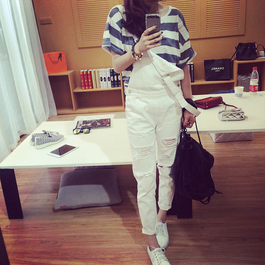 Spring and Autumn  Ripped White Denim Overalls Women Trousers spring