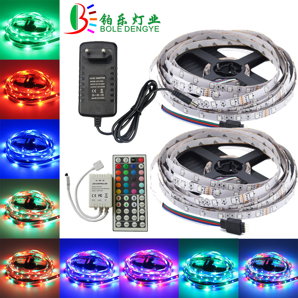 5m 10m RGB LED Strip 12V 60 leds/m Flexible LED Tape Ribbon SMD 2835 Waterproof Rope String Lamp Light+LED Controller+EU Adapter 5m 10m rgb led strip 12v 60 leds m smd 2835 waterproof flexible tape ribbon colorful rope light string lamp led controller power