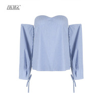 BKMGC Elegant Strapless Blue Women Fashion Tank Tops 2017 Summer Cotton Striped Off Shoulder Slim Backless