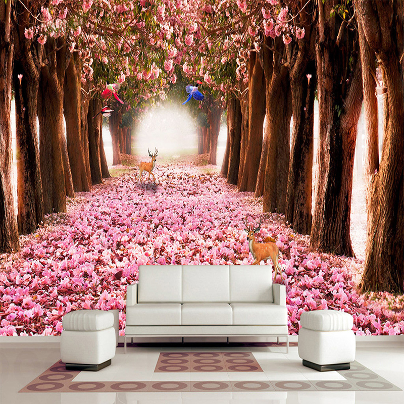 Custom Any Size Murals Wallpaper 3D Romantic Cherry Blossoms Deer Photo Wall Cloth Bedroom Living Room Home Decor 3D Wall Papers
