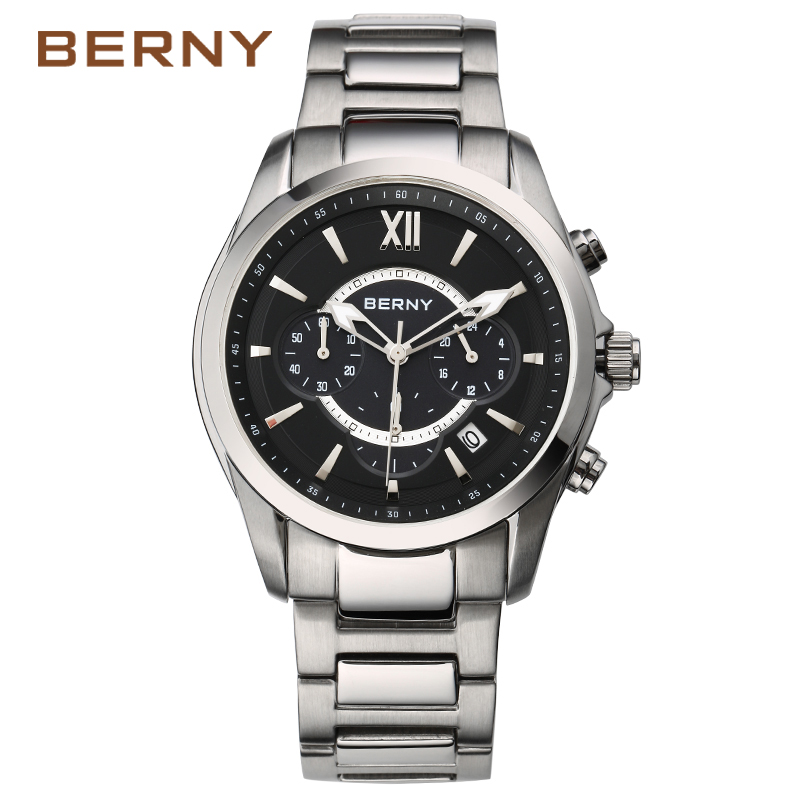 BERNY New Luxury Brand Steel Watches Business Men Watch Sports Fashion Casual Male Clock Watches Mens Waterproof 50m 2837M dom multifunctional mens watches luminous steel sheet timep waterproof sports casual male watch m510
