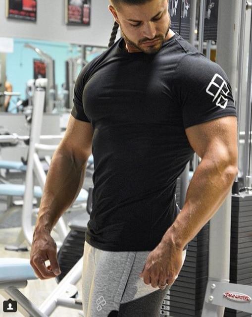 cc8ed7613f8d 2018Summer Fashion Brand Men Clothes Tee tops Slim Fit Short Sleeve Fitness  Bodybuilding tShirt Men Cotton Casual Mens T Shirts