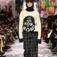 Runway Women's Sweater 2018 Loose Knitted Tops Winter Women Sweaters Female Letters Knitted Pullovers streetwear jumper