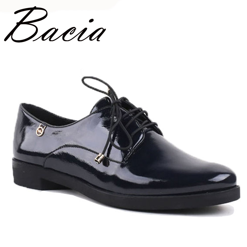 Bacia - New 2016 Fashion Genuine Leather Women Shoes lace up 36-40SIZE High quality Flats  for Women Patent Shoes Handmade VC020