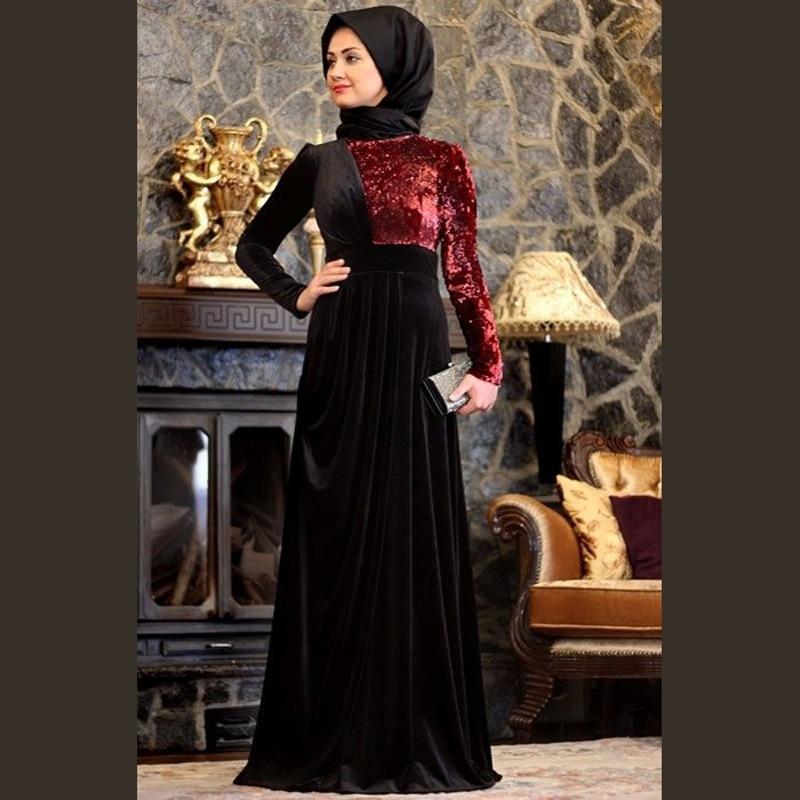 Elegant Long Sleeve Wedding Dress Muslim Dress 2015 Simple: Charming Elegant Long Sleeve Black And Red Velvet Muslim