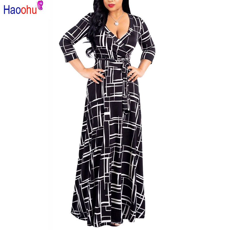 HAOOHU Plus Size black Bohemian Long <font><b>Dress</b></font> Women Autumn Winter Tunic Maxi Beach <font><b>Dress</b></font> <font><b>gold</b></font> Female Floor-Length Vestido image