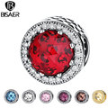 925 Sterling Silver Red Corações Cor de Rosa Contas de Cristal Grânulos de Charme fit Pandora Bracelet & Bangle DIY Jewelry Making Acessórios