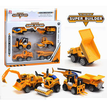 6 Pcs/Set Mini Alloy Engineering Car Model Toys For Boys Diecast Construction Vehicle Excavator Helicopter Classic Toy Children(China)