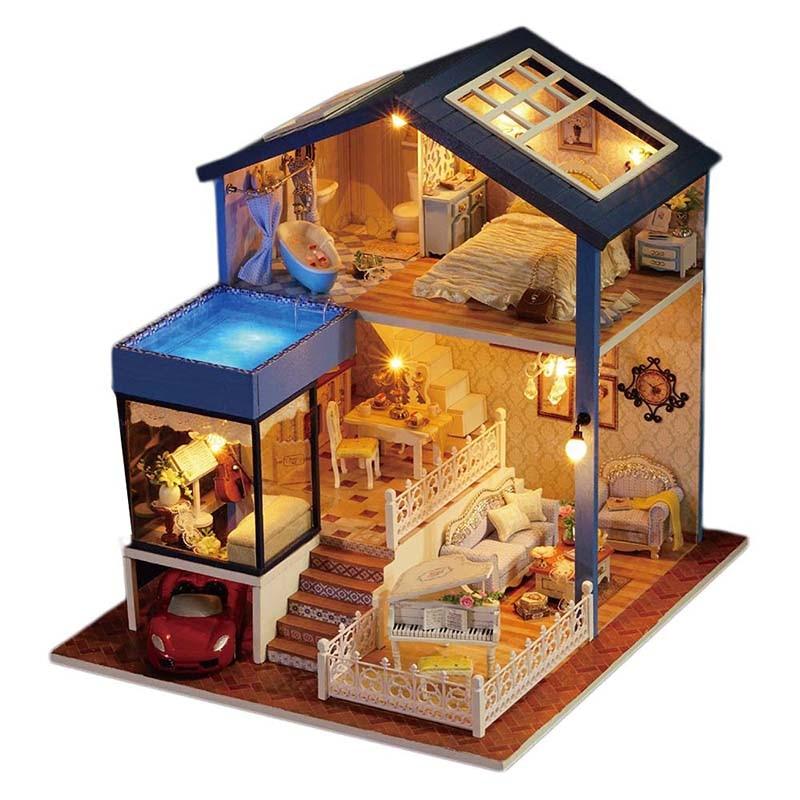 Kits miniatures en bois de maison de poupée de DIY avec la lumière de LED,