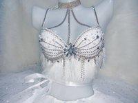 Женский костюм белые кристаллы, стразы бикини пузырь юбка набор сексуальный бар для сцена на вечеринках и шоу одежда костюм для клуба мужск