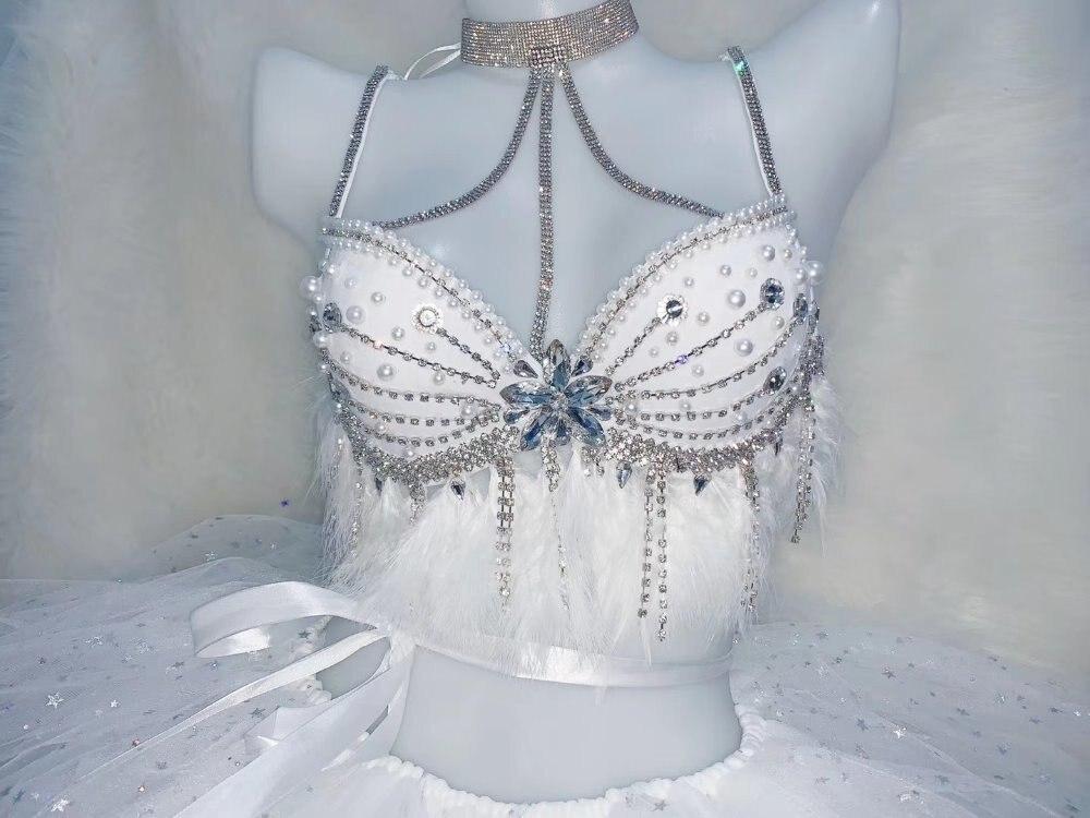 Femmes Costume cristaux blancs strass Bikini bulle jupe ensemble Sexy Bar fête spectacle scène porter discothèque DJ chanteur danseur