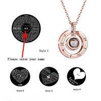Jóias de aço inoxidável eu te amo 100 língua colares pingentes para mulheres personalizado nome placa de identificação colar personalizado
