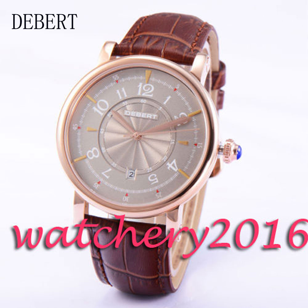 Casual 43mm Debert gray dial date window golden case 21 jewels 8215 Automatic men's Watch цена и фото