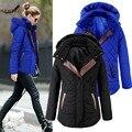 [Haneki] European Winter Women Personalized Hooded Slim Thick Dark Button Jacket Cotton Coat Cold Blue Black Free Shipping
