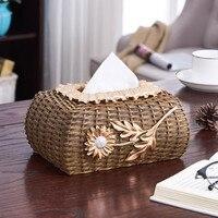 Rattan Tissue Box Creative Desktop Storage Box Kitchen Napkins Paper Holder Paper Towel Holders for Kitchen Home & Garden