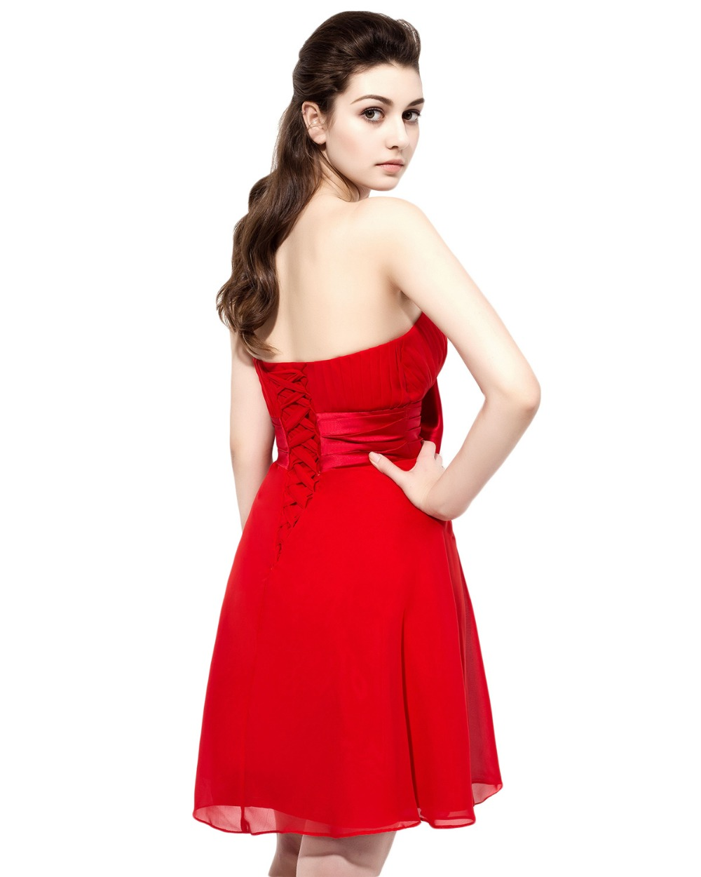 5b2f468228c ANGELSBRIDEP Red Short Bridesmaid Dresses With Bow At Waist Chiffon Lace up  Strapless Cheap Party Formal Gown-in Bridesmaid Dresses from Weddings    Events ...