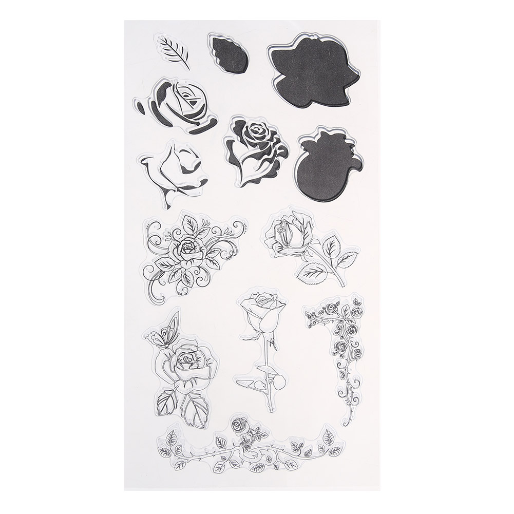 Transparent Clear Stamp Rose Flower Style DIY Silicone Seals Scrapbooking/Card Making/Photo Album Decoration Supplies 20 x 11CM