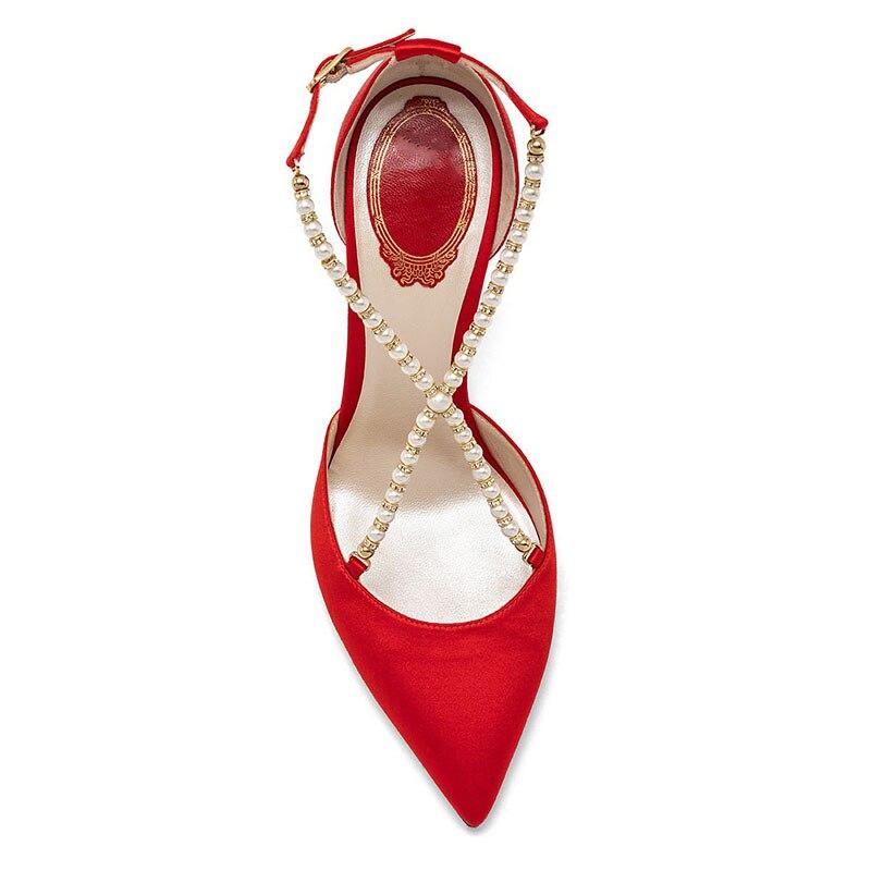 Pointu Nouveau Peal Femme Partie Style Black Pompes Bout Minces Dames Croix Côté Dirigeants Silla Ouvert Femmes red Talons Sexy Chaussures Soie vSXgf5nq