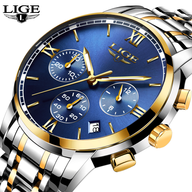 New lige watches men luxury brand fashion business quartz watch men six pin sport waterproof for Lige watches